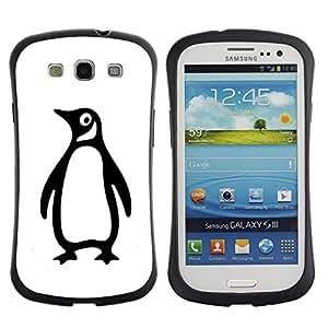 LASTONE PHONE CASE / Suave Silicona Caso Carcasa de Caucho Funda para Samsung Galaxy S3 I9300 / Penguin Goofy Minimalist White Black