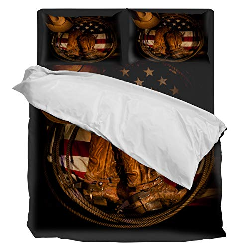 Bedding Duvet Cover Set- Ultra Soft 4 Piece(1 Duvet Cover+1 Flat Sheet + 2 Pillowcases) West Cowboy Retro Equipment Boots Hat and Rope Twill Plush Comforter Cover Set, Twin