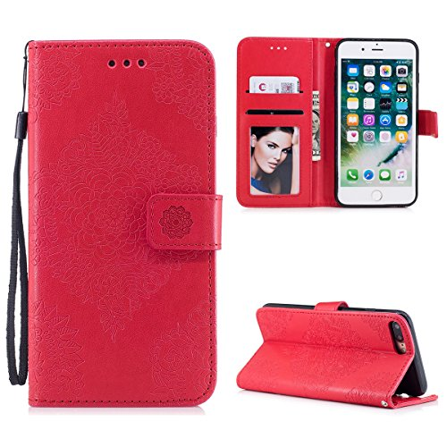 Funda iPhone 7 Plus iPhone 8 Plus, WE LOVE CASE Piel y Tipo Cartera Carcasa Funda Flor iPhone 7 Plus iPhone 8 Plus con Tapa Flip Wallet caso de Cuero Billetera Original Funda Que Se Pega con Ranura Pa Red