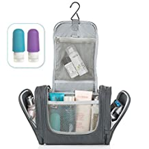 Travel Toiletry Bag for Men & Women - Hanging Toiletries Kit For Accessories, Cosmetic, Shaving, Personal Items-Durable Mens Dropp Kit & Stylish Women's Travel Organizer-2 Free Silicone Bottles