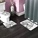 3 Piece Team Bath Rug Set,Anti-Skid Bathroom Toilet Contour Mat Washable(Head English Cocker Spaniel Animal Black Breed Canine Cute) 4