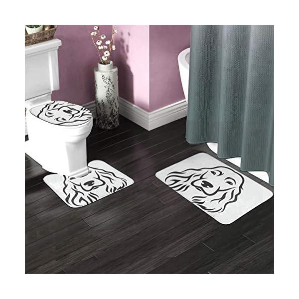 3 Piece Team Bath Rug Set,Anti-Skid Bathroom Toilet Contour Mat Washable(Head English Cocker Spaniel Animal Black Breed Canine Cute) 2