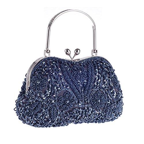 Sun worlds Bolso de Noche con Perla de Imitación Cristal Bolso de Cena Floral para Fiesta Boda Azul Claro