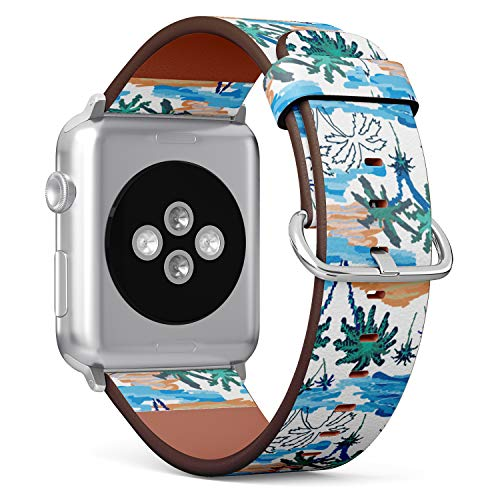 S-Type Leather Bracelet Watch Band Strap Replacement Wristband Compatible with Apple Watch 4/3/2/1 Sport Series 38mm 40mm 42mm 44mm - Blue Lagoon Paradise Pattern with Ocean, Islands and Palms