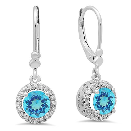 14K White Gold Round Blue Topaz & White Diamond Ladies Halo Style Dangling Drop Earrings by DazzlingRock Collection