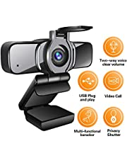 LarmTek HD?Webcam?1080p?with Privacy Shutter,Webcam PC Laptop Camera with Microphone,Widescreen Video Calling and Recording Support for Conference,W3,UK