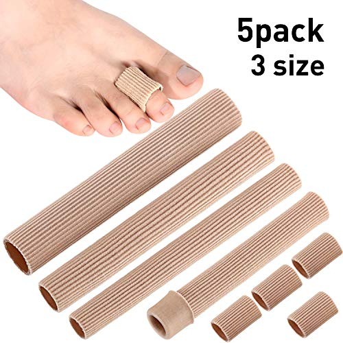 5 Pieces Toe Cushion Tube 3 Different Size Toe Tubes Sleeves 6 Inches Long Soft Gel Corn Pad Protectors for Cushions Corns, Blisters, Calluses, Toes and Fingers (Uncut Size, 5 Pieces) (Silopad Gel Tubing)
