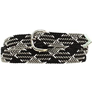 Double S Men's 52″ Braided Belt Blk/White One Size