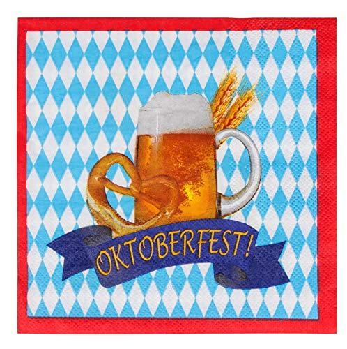 Cocktail Napkins - 100-Pack Disposable Paper Napkins, Oktoberfest Party Supplies, 2-Ply, Beer Pretzel Banner Design, Blue White and Red, Unfolded 13 x 13 Inches, Folded 6.5 x 6.5 Inches -