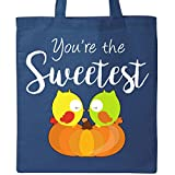 Inktastic - Youre the Sweetest- cute owl couple on pumpkin Tote Bag Royal Blue