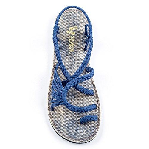 Print Braided Strap Dress - Plaka Flat Summer Sandals for Women Saphire Blue 8 Palm Leaf