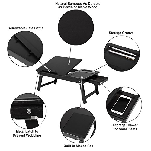 SONGMICS 100% Bamboo Lapdesk, Multi-functional Bed Tray, Foldable Laptop Table with Adjustable Tilt Angle Notebook Stand Sofa Bed Tray with Built-in Mouse Pad Storage Groove and Drawer Black ULLD008BK