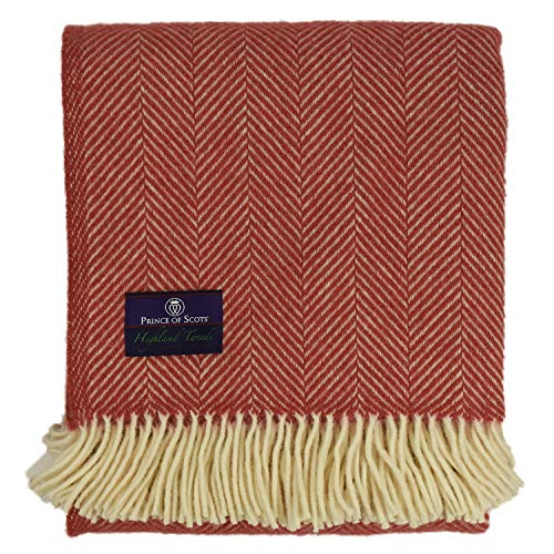 Prince of Scots Highland Tweed Herringbone 100% Pure New Wool Throw (Grenadine)