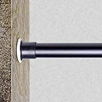 GOODUSCN Tension Curtain Rod, Spring Tension Shower Curtain Rods, Premium Tension Windows Curtain Rods,No Drilling,Adjustable Bathroom Tension Curtain Rod (Black, 43-83 Inch)