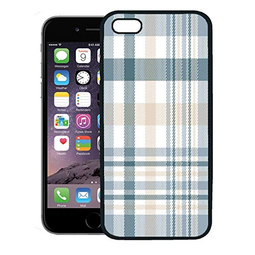 Semtomn Phone Case for iPhone 8 Plus case Cover,Tartan Plaid Check Pattern in Beige White Dusty Teal Green and Grayish Blue Golf,Rubber Border Protective Case,Black