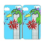 """My World"" Japanese Giant Green Lizard Parody On Big City Skyscraper - Taiga Hinge Wallet Clutch"