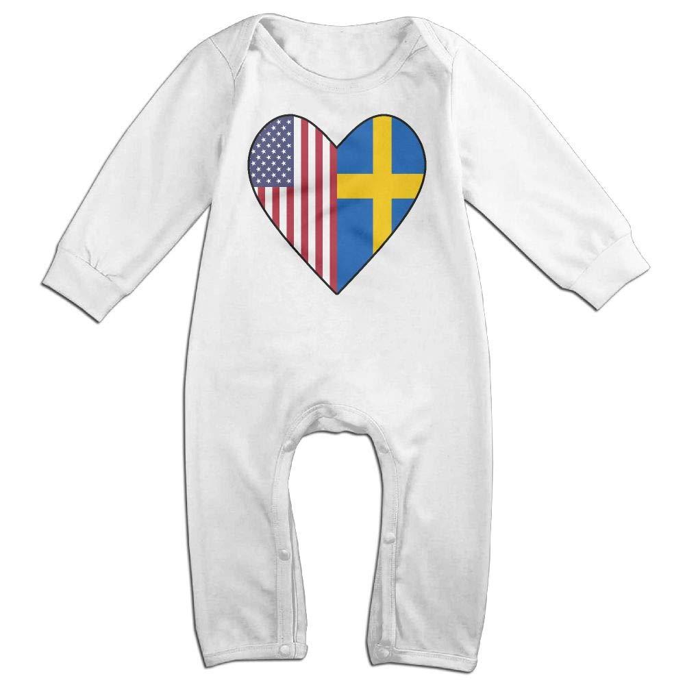 Half Swedish Flag Half USA Flag Love Heart Long Sleeve Newborn Baby Romper Jumpsuit Onsies for 6-24 Months Bodysuit