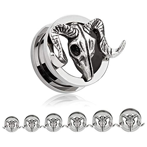 TBOSEN 2 pcs Titanium Alloy Retro Ram Goat Skull Ear Plugs Large Gauges Stretching Screw Fit Tunnels Gauge:3/4