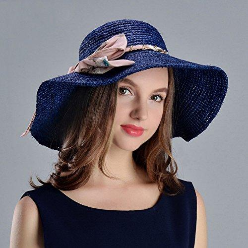 - WENZHE Summer Women's Outdoor Sun Hats Girls' Caps Visors Raffia Manual Hook Collapsible Sun Protection Wild, Navy Blue