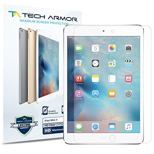 (Tech Armor High Definition HD Clear Film Screen Protector Designed for Apple iPad Mini 5 (2019), iPad Mini 4 [NOT Glass] - Full Coverage, Ultra-Thin, Scratch Resistance - [2-Pack])