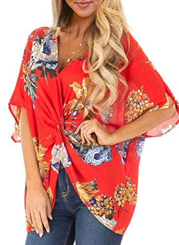 Womens Casual Summer Spring Shirts Chffion Top Short Sleeve Floral Ladies Loose Twist Front Peasant Blouses and Tops Elegant T-Shirts Tunics Orange Red M