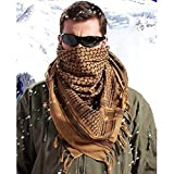 LUQUAN Winter Military Windproof Scarf Muslim Hijab Shemagh Tactical Desert Arabic Keffiyeh Scarf 100% Cotton Thickened Turban Scarf