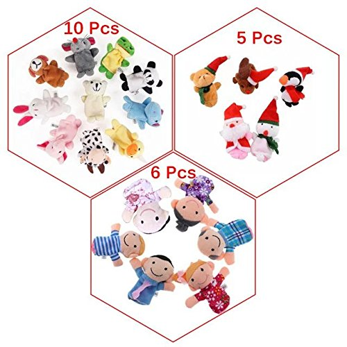 Finger Puppets Toys for Animal Family Santa Claus Snowman Cloth Doll Play Game Story Plush Gift for Baby Story Time 20 Pcs (Preschool Halloween Storytime)