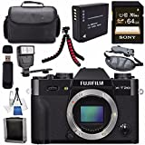 Fujifilm X-T20 Mirrorless Digital Camera (Black) 16542490 + NP-W126 Lithium Ion Battery + Sony 64GB SDXC Card + Carrying Case + Flexible Tripod + Flash + Memory Card Wallet Bundle