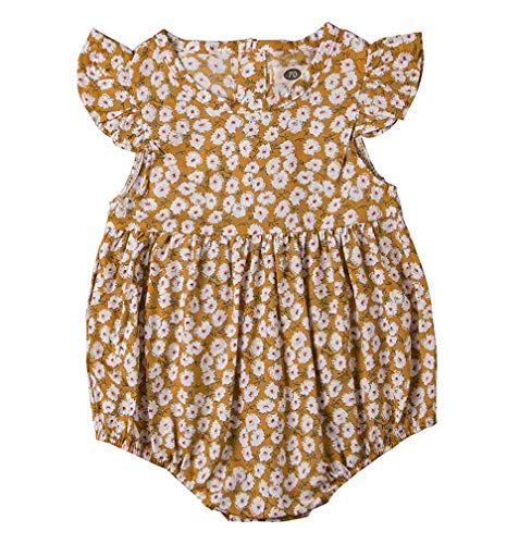 GRNSHTS Infant Baby Girls Ruffles Sleeve Romper Floral Print Vintage Jumpsuit Outfit Sunsuit Clothes Summer (90/12-18 Months, Yellow)