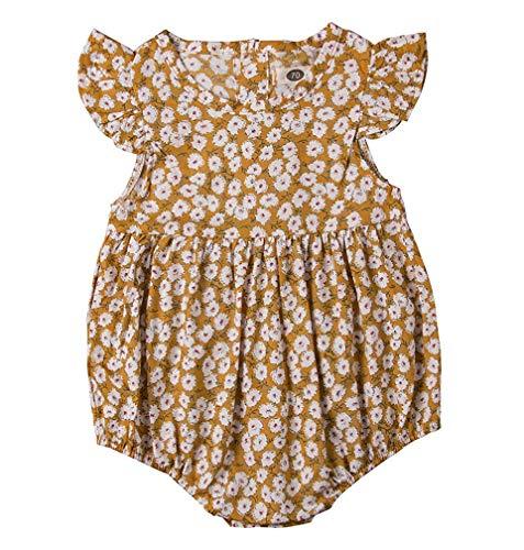 GRNSHTS Infant Baby Girls Ruffles Sleeve Romper Floral Print Vintage Jumpsuit Outfit Sunsuit Clothes Summer (70/0-6 Months, -