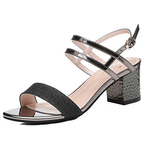 Jqdyl Tacones Sandalias Nuevas de Verano de Tacón Alto de Mujer Zapatos de Moda de Mujer, 39, Negro 39|black