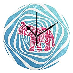 HCMusic Round Mandala Elephant Wall Clock- Non Ticking Digital Quiet Sweep Clock, Decorative for Office Living Room Bedroom, 10 Inch