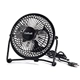 USB Fan, Daffodil UFN100B Mini Table Desk Personal Fan and Portable Metal Cooling Fan for Office Home School and Camping, High Compatibility, Power Saving with 360 Degree Rotation, 4 Inch ( Black)