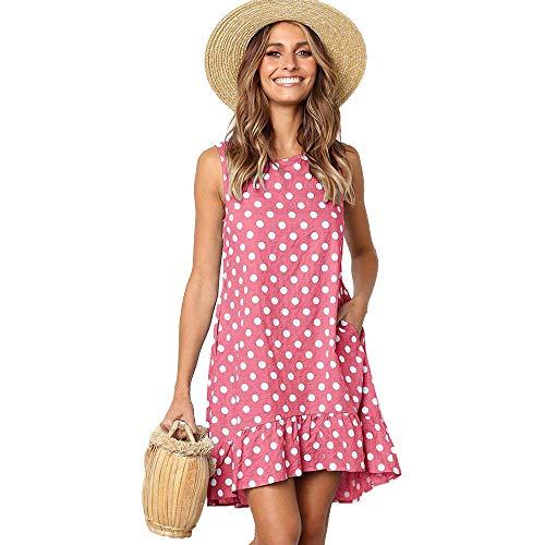 Beauty Collector Women Cute Pink Polka Dot Dress A-Line Casual Loose Swing Sleeveless Shift Dress