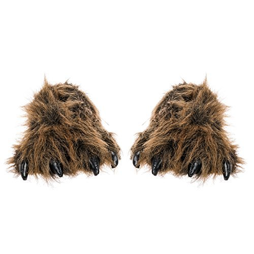 Grizzly Bear Paw Furry Slippers - Men & Women - Size Medium