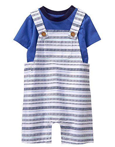 Gymboree Baby Boys Short Sleeve Striped Overall Set, Gym Navy, 6-12 mo