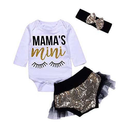 3Pcs Baby Girls Mama's Mini Lashes Print Long Sleeve Bronzing Romper+Short Lace Bottom+Headband Clothes (3-6Months, (Cute Baby Girl Outfits)