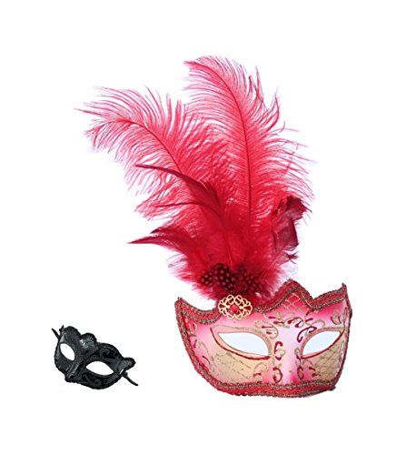 Haojing Masquerade Carnival Mardi Gras Costume Venetian Halloween Party Mask with Feather Flower and Gift(Red Feathers+G -