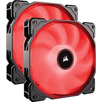 CORSAIR AF140 LED Low Noise Cooling Fan, Dual Pack - Red, 140 mm