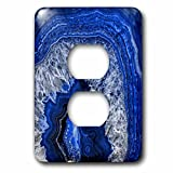 3dRose LSP_274958_6 Image of Luxury Blue Indigo Marble Agate Gem Mineral Stone Plug Outlet Cover,