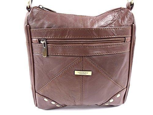 The Leather Emporium - Bolso de asas de piel para mujer marrón