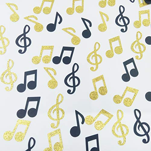 Morndew 120 PCS Black and Gold Glitter Music Note Confetti for Music Party Rock Star Party Birthday Party Baby Shower Wedding Party Decorations