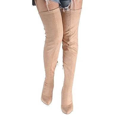 1 Womens round toe side zip Faux Suede Stilettos Heels Knee High Boots