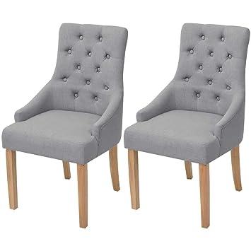 Xinglieu 2 Unidades sillas de Comedor Tela Gris Claro Madera de ...