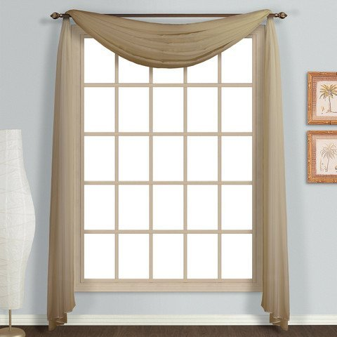 Empire Home Solid Taupe Sheer Voile Scarf Valance 216″ Long Scarves