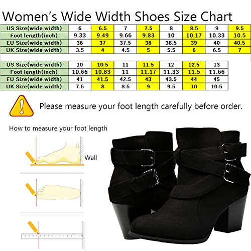 Image of Luoika Women's Wide Width Ankle Boots - Buckle Strap Block Heel Side Zipper Plus Size Booties.(180615,Black,10WW)