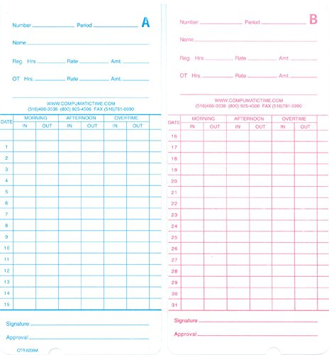 Compumatic CTR6200M Time Cards, 250 time cards, semi-monthly & monthly pay periods