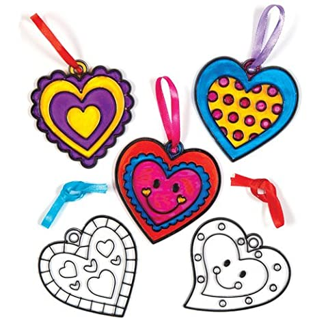 Heart Acrylic Suncatcher Hanging Window Decoration Kit for Children to Paint - Creative Valentines Day Craft Toy (Pack of 8)
