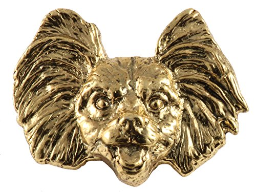 Creative Pewter Designs Papillon Dog 22k Gold Plated Lapel Pin, Brooch, Jewelry, DG134 ()