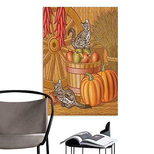 Alexandear Scenery Wall Sticker Harvest Retro Barn with Two Kittens Pumpkins Dried Peppers Apples in Basket Wheat Vermilion Orange Tan Living Room Wallpaper W8 x H10